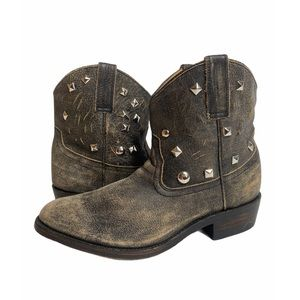 Aldo Distressed Leather Western Booties Studs New